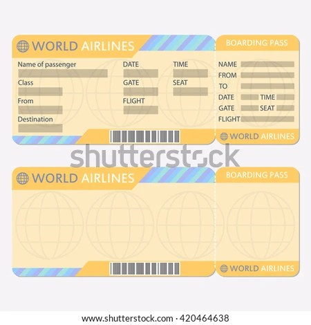 Airline Plane Ticket Template Boarding Pass Stock Illustration - airplane ticket template