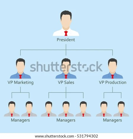 Hierarchy Organization Chart People Icons Structure Stock Vector