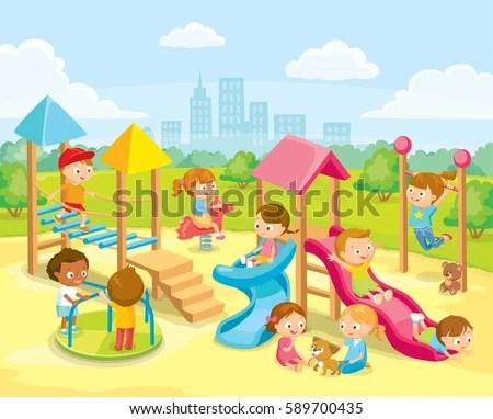 Children Playing Playground Stock Vector 589700435 - Shutterstock - cartoon children play