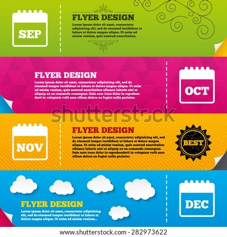 Flyer Brochure Designs Calendar Icons September Stock Vector