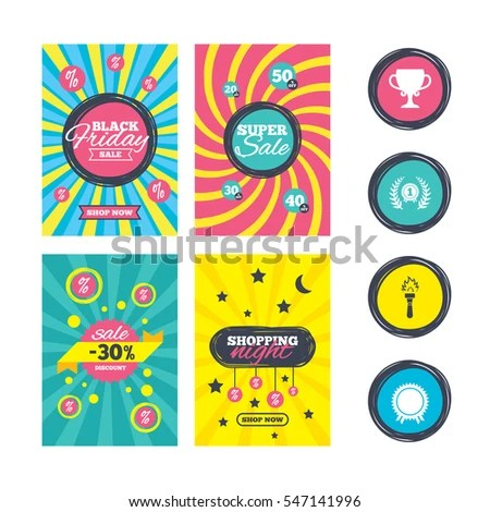 First Place Award Cup Icons Laurel Stock Vector 519768460 - first place award template