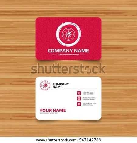 Business Card Template Texture Compass Sign Stock Vector 547142788