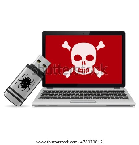 USB Flash Drive Computer Virus Infected Stock Vector 478979812 - computer virus