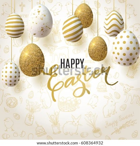 Happy Easter Background Realistic Golden Decorated Imagem Vetorial - easter greeting card template