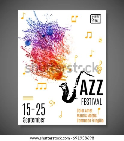 Jazz Blues Festival Poster Music Background Stock Vector (Royalty