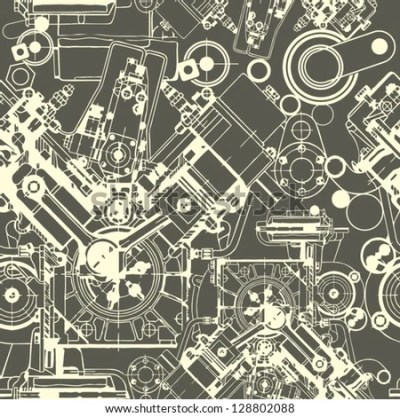 Drawing Engine Seamless Pattern Background Seamless Stock Vector 128802088 - Shutterstock
