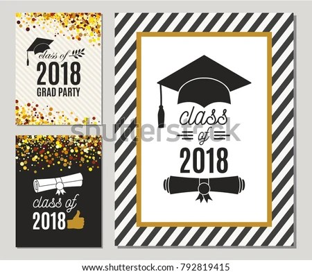 Graduation Class 2018 Greeting Cards Set Stock Vector 792819415 - cards party