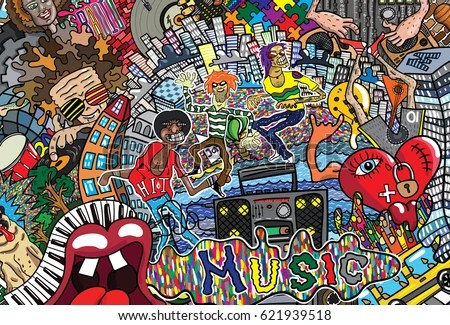3d Brick Wallpaper Philippines Music Collage On Large Brick Wall 스톡 벡터 621939518