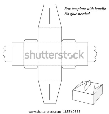 Gift Box Template Handle No Glue Stock Vector 185560535 - Shutterstock - gift box template free