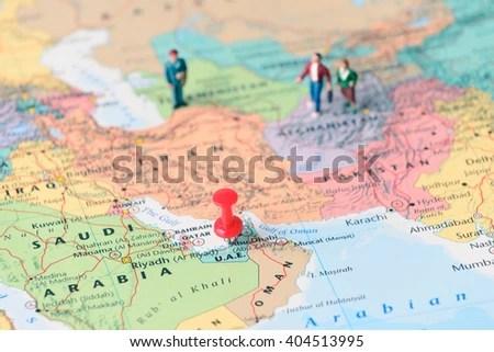 Pinned On Map Dubai UAE Miniature Stock Photo (Royalty Free
