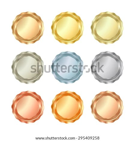 Vector Set Glossy Blank Templates Medals Stock Photo (Photo, Vector - gold medal templates
