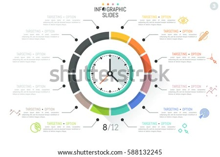 Colorful Infographic Design Template Clock Surrounded Stock Vector