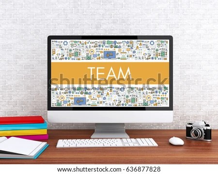 3 D Illustration Modern Workspace Computer Word Stock Illustration