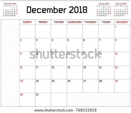 Year 2018 December Planner Monthly Planner Stock Illustration
