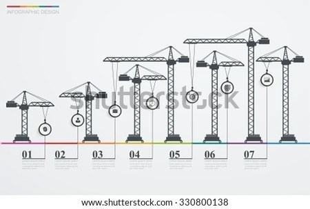 Colorful Road Infographic Timeline Icons Construction Imagem - construction timeline