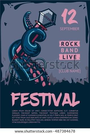 Music Poster Template Rock Concert Octopus Stock Vector (Royalty