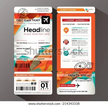 Modern Design Boarding Pass Ticket Event Stock Vector 214343338