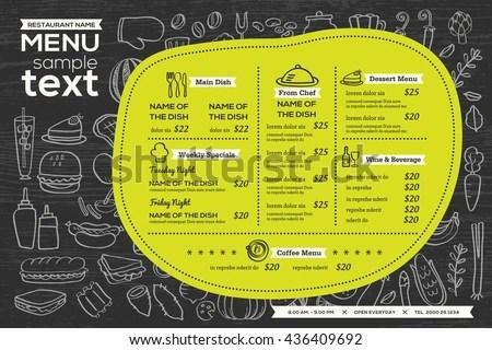 Restaurant Food Menu Design Chalkboard Background Stock Vector - sample chalkboard menu template