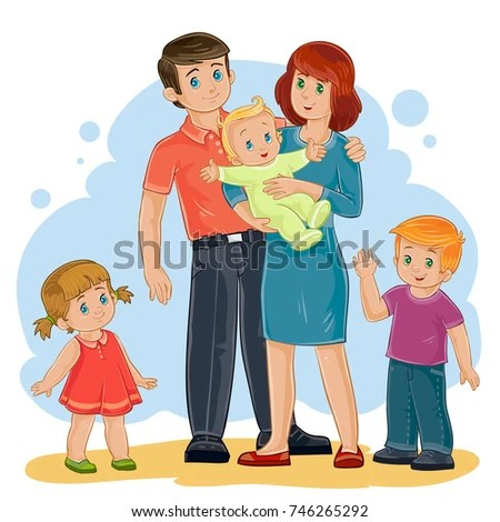Cute Sikh Baby Boy Wallpaper Vector Illustration Happy Family Five People Stock Vector
