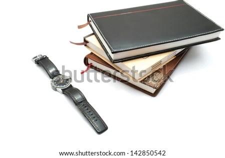 Wrist Watch Personal Diaries On White Stock Photo (Royalty Free