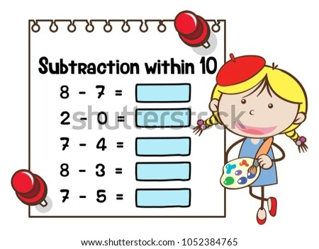 Math Worksheet Template Subtraction Within Ten Stock Vector