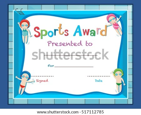 Certificate Template Kids Swimming Illustration Stock Vector - certificate template for kids