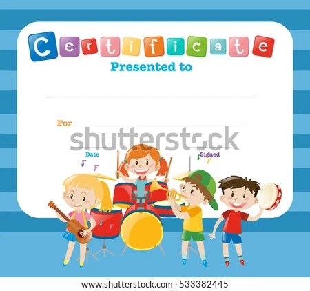 Certificate Template Kids Band Illustration Stock Photo (Photo - certificate template for kids