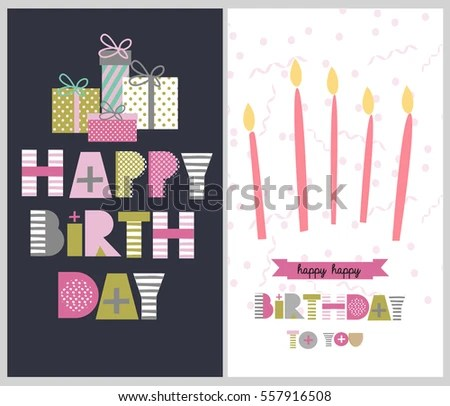 Set Happy Birthday Greeting Invitation Card Stock Vector (Royalty
