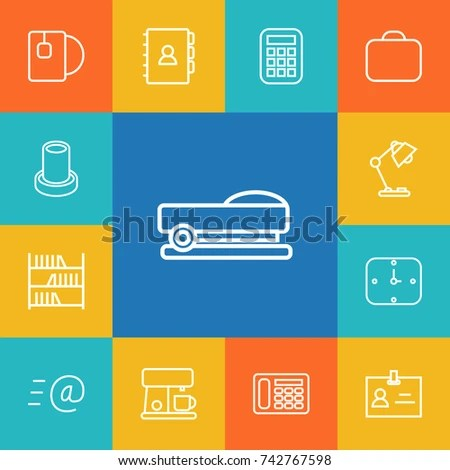 Set 13 Office Outline Icons Set Stock Vector 742767598 - Shutterstock