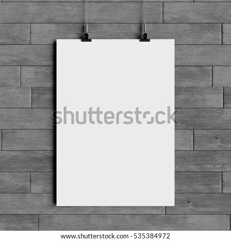 Paper Blank Poster Template Hanging Over Stock Illustration