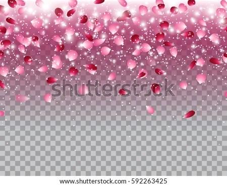 Falling Hearts Wallpaper Pink Falling Flowers Petals Glowing Lights Stock Vector