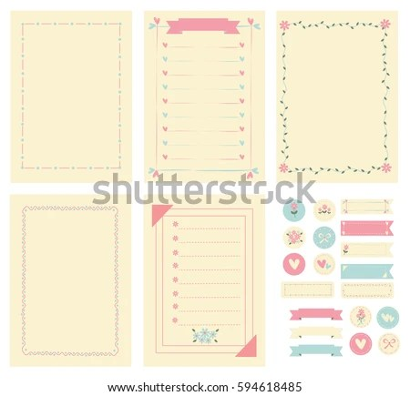 Template Frame Notebook Paper Diary Scrapbook Stock Vector 594618485 - Notebook Paper Template