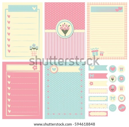 Template Notebook Paper Diary Scrapbook Card Stock Vector 594618848 - Notebook Paper Template