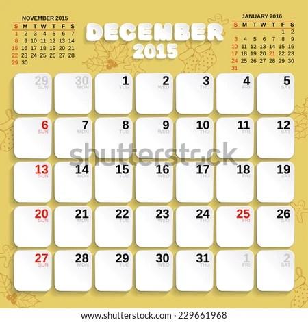 December Vector Month Calendar 2015 Paper Stock Vector 229661968