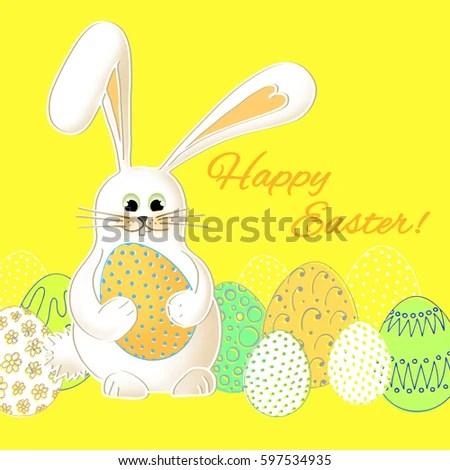 Cute Easter Bunny Beautiful Postcard Template Stock Illustration