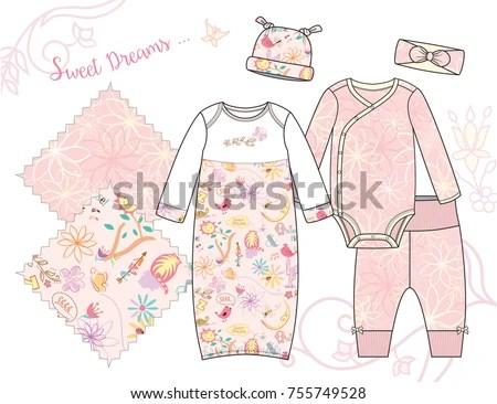 Newborn Baby Girl Fashion Illustration Sweet Stock Vector 755749528