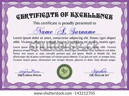 Horizontal Certificate Excellence Template Stock Vector (Royalty