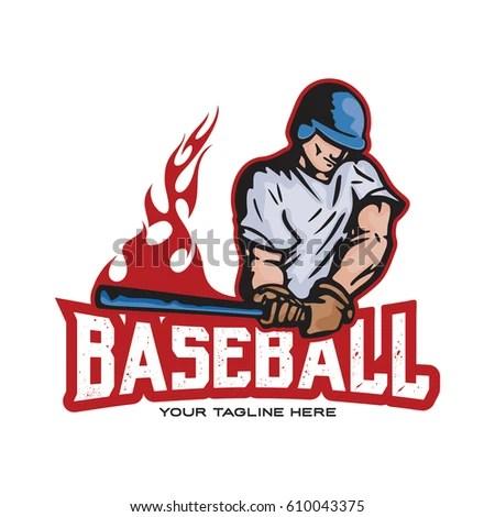 Fire Baseball Logo Design Stock Vector (Royalty Free) 610043375