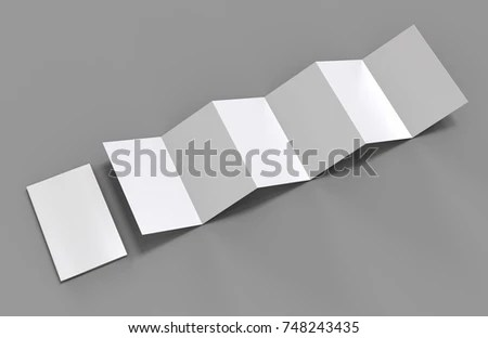 Accordion Fold Brochure Twelve Page Leaflet Stock Illustration - blank brochure