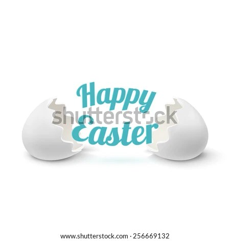Easter Greeting Card Template Realistic Egg Shell Icon, Isolated - easter greeting card template