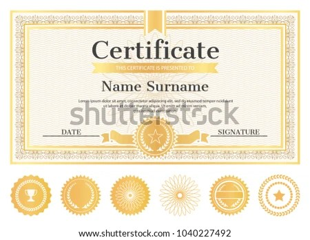 Certificate Sample Place Name Surname Date Stock Photo (Photo - certificate sample