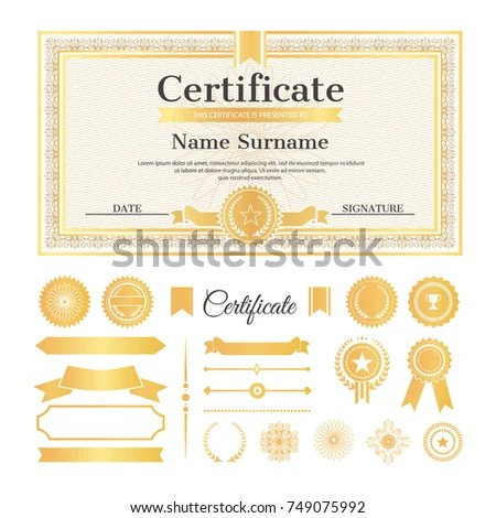 Certificate Sample Stamps Signatures Text Name Stock Vector (Royalty