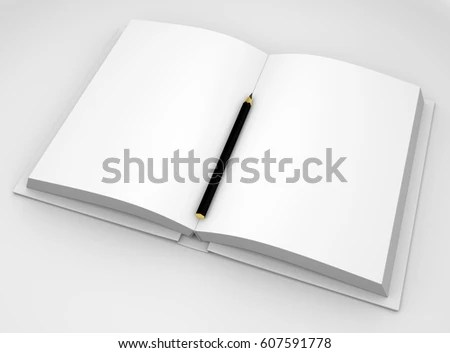Opened Book Pencil 3 D Rendering Stock Illustration 607591778 - opened book