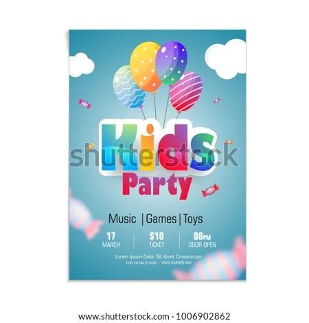 Kids Party Flyer Banner Design Stock Vector 1006902862 - Shutterstock - party flyer