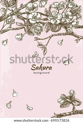 Cherry Blossoms Falling Stylized Wallpaper Vintage Floral Background Birds Japanese Style Stock