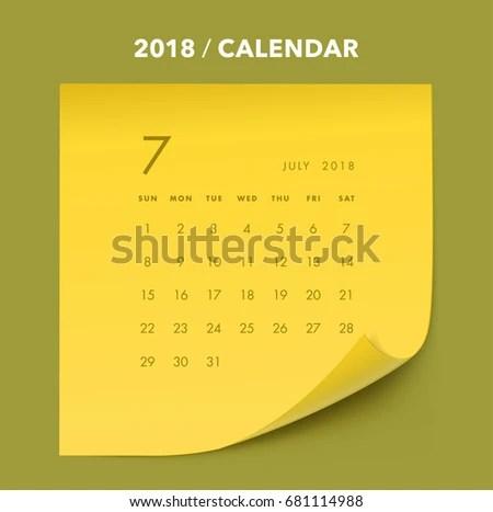 Simple Memo Paper Calendar 2018 Years Stock Vector (2018) 681114988
