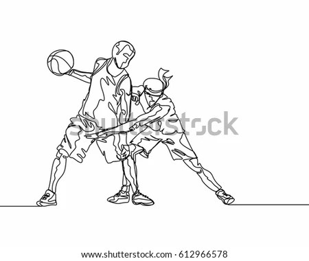 Continuous Line Drawing Basketball Player Stock Vector (Royalty Free