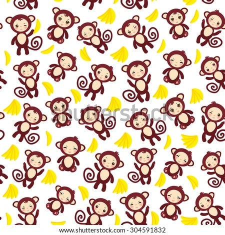 Monkeys And Bananas Cute Wallpaper For Girls Seamless Pattern Funny Brown Monkey Yellow Stock Vector