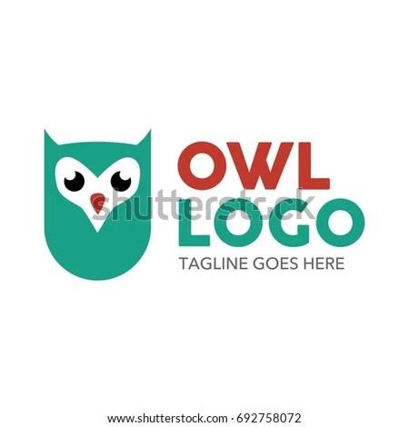 Unique Owl Logo Minimalist Shapes Colors Stock Vector 692758072