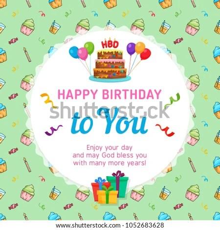 Happy Birthday Card Template Birthday Cake Stock Vector 1052683628 - template for a birthday card